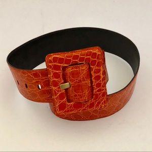 Yves Saint Laurent Orange Lg Wide Buckle Belt  34